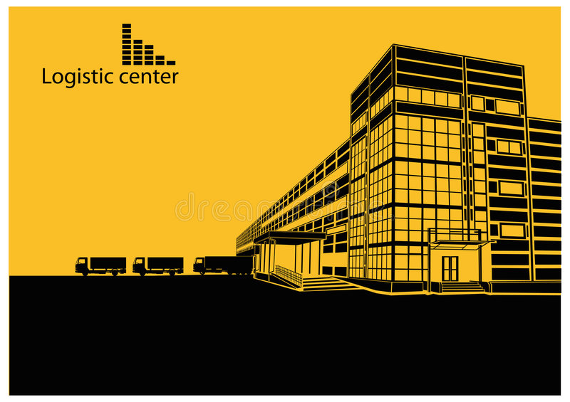 Logistic centre. Building, made in vector graphic redactor stock illustration