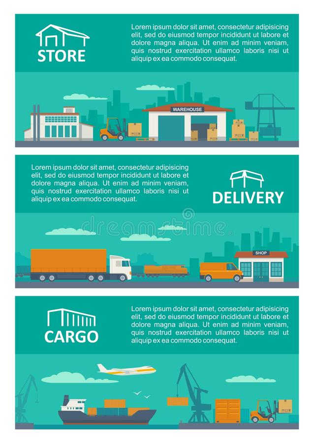 Logistic concept flat banner production process from factory to the shop. Warehouse, ship, truck, car. Wide panoramic illus royalty free illustration