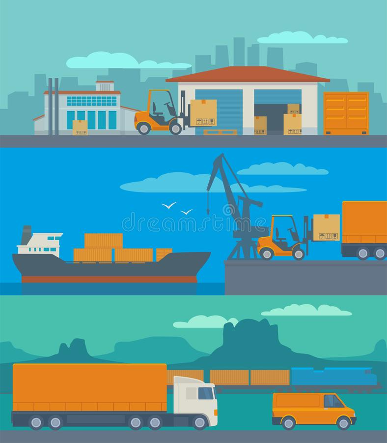 Logistic concept flat banner production process from factory to the shop. Warehouse, ship, truck, car. Wide panoramic vector royalty free illustration