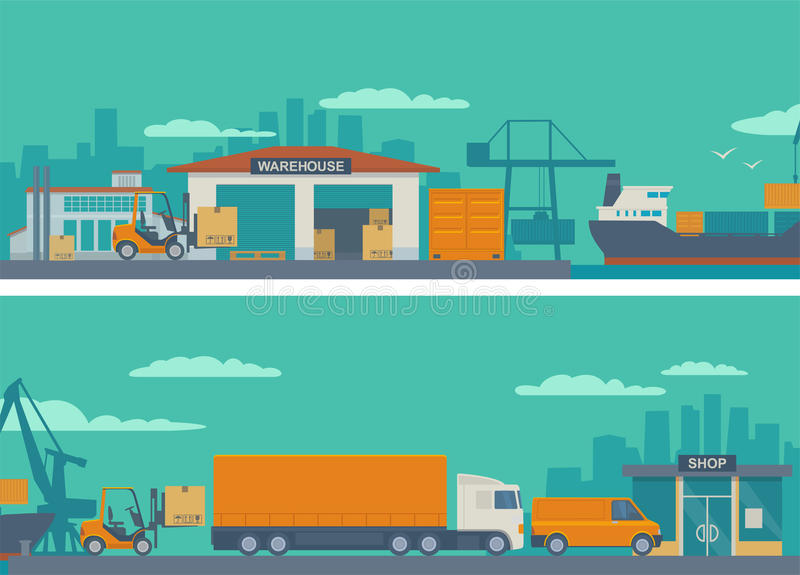 Logistic concept flat banner road from factory to the shop - warehouse, ship, truck, car. royalty free illustration
