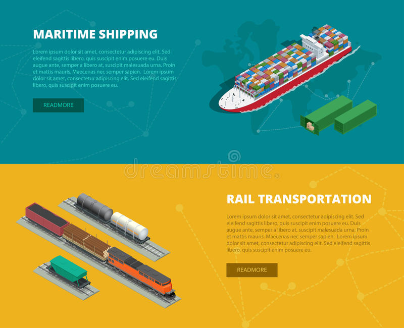 Logistic concept flat banners of maritime shipping, rail transportation. On-time delivery. Delivery and logistic. Vector. Isometric illustration Vehicles vector illustration