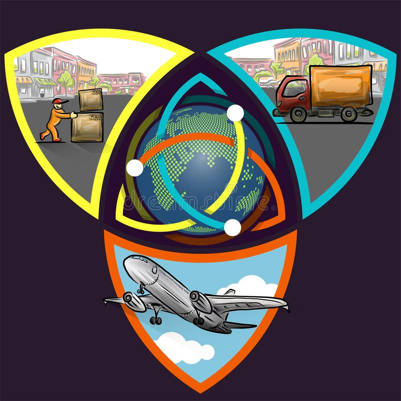 Logistic concept infographics of triple step worldwide delivery stock illustration