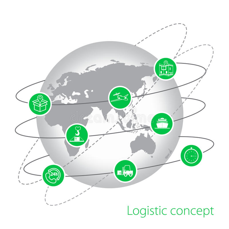 Logistic concept. Set of flat logistics icons. stock illustration