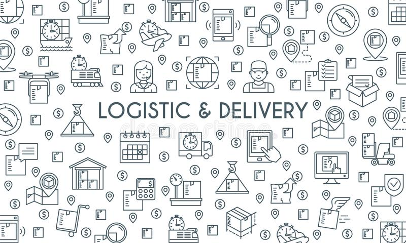 Logistic and delivery banner royalty free illustration