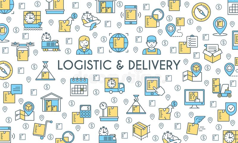 Logistic and delivery banner. Logistic and delivery. Vector illustration royalty free illustration
