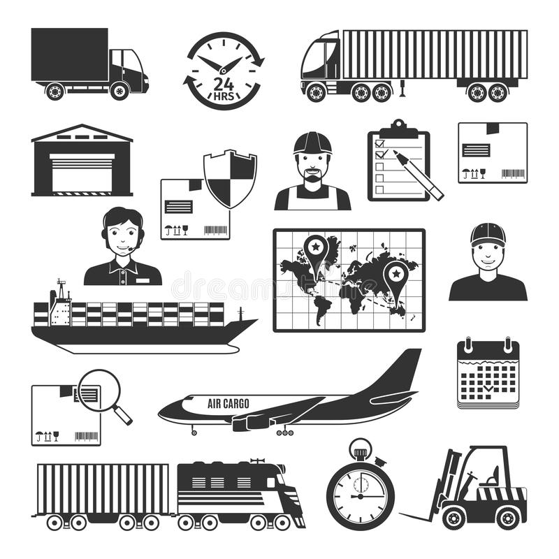 Logistic And Delivery Black Icons Set vector illustration