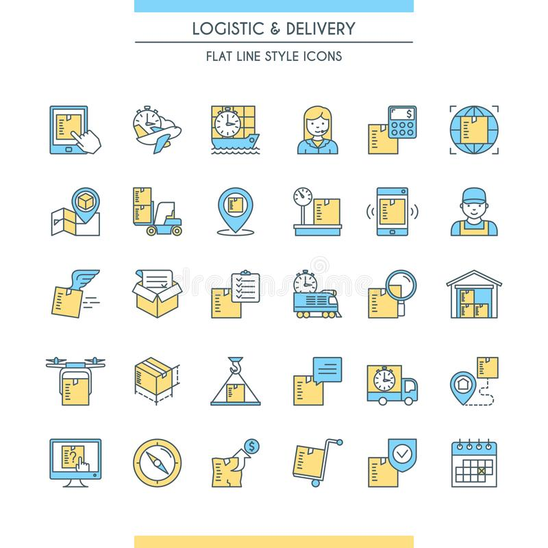 Logistic and delivery icons set. Modern thin line icons. Vector illustration royalty free illustration
