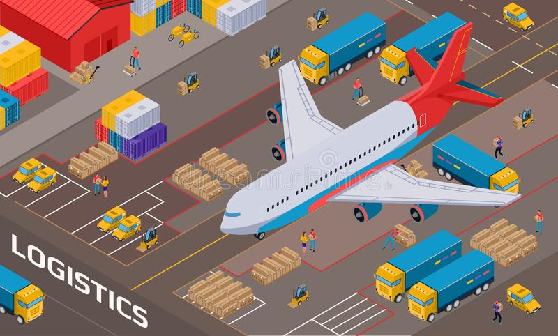 Logistic Delivery Isometric Illustration vector illustration