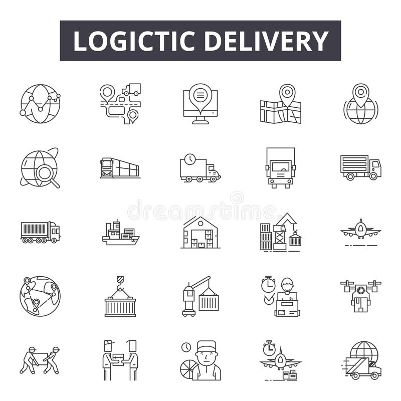 Logistic delivery line icons for web and mobile design. Editable stroke signs. Logistic delivery outline concept stock illustration