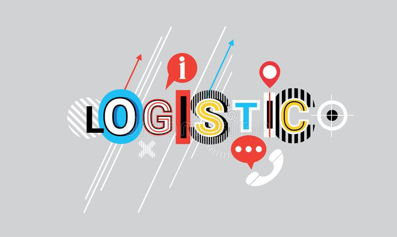 Logistic Delivery Shipping Creative Word Over Abstract Geometric Shapes Background Web Banner. Vector Illustration vector illustration