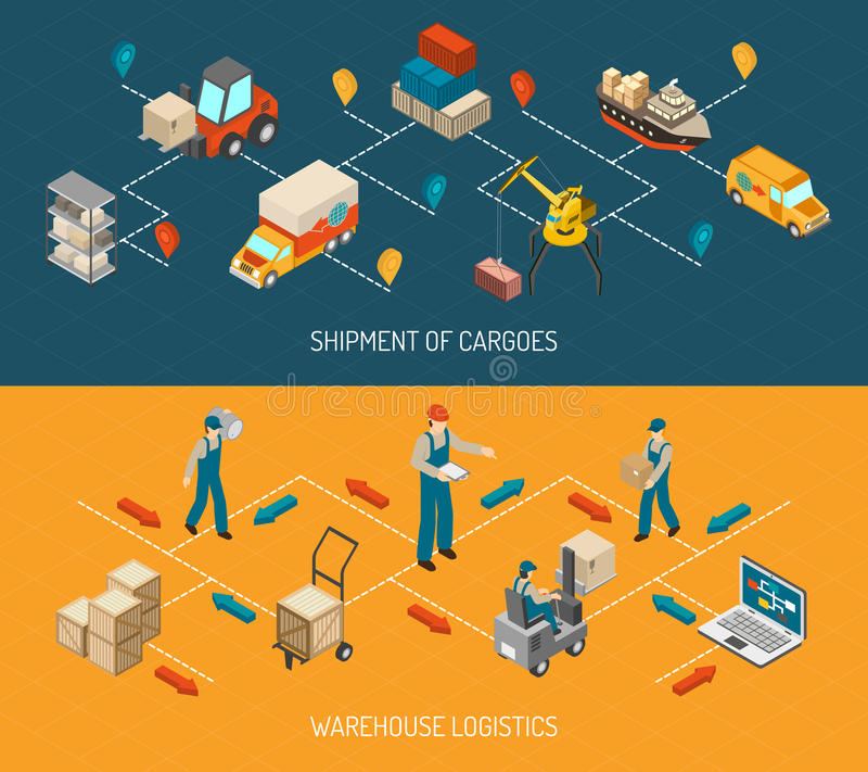 Logistic Delivery And Warehouse Banners Set royalty free illustration