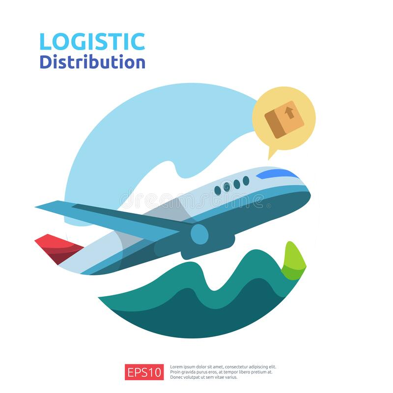 Logistic distribution cargo service concept. global delivery worldwide import export shipping banner for web landing page,. Presentation, social, poster or royalty free illustration