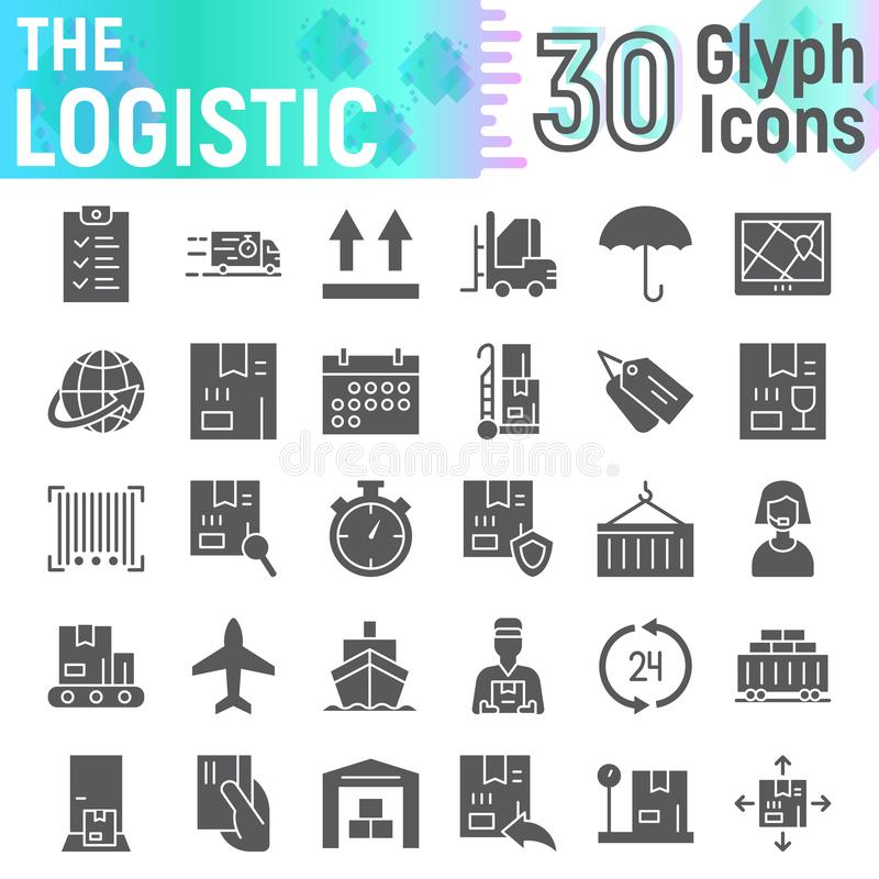 Logistic glyph icon set, delivery symbols collection, vector sketches, logo illustrations, shipping signs stock illustration