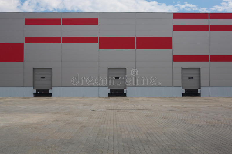 Logistic hall. With delivery docks royalty free stock photography