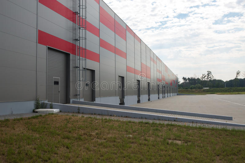 Logistic hall. Outside of logistic hall with dock royalty free stock photos
