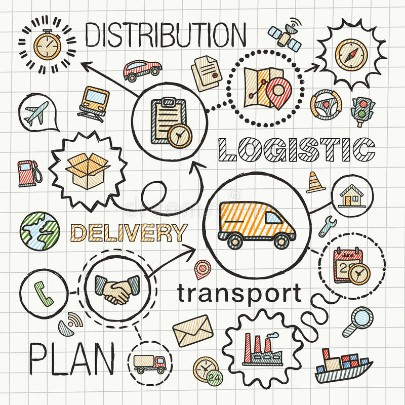 Logistic hand draw integrated color icons set. Vector sketch infographic illustration with line connected doodle hatch pictograms on paper: distribution stock illustration