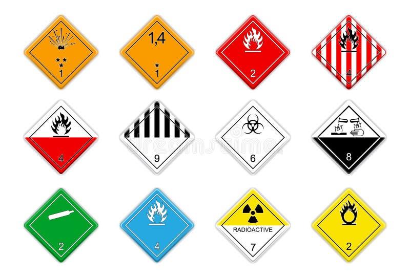 Logistic hazardous signs. Set of 12 Logistic hazardous signs royalty free illustration