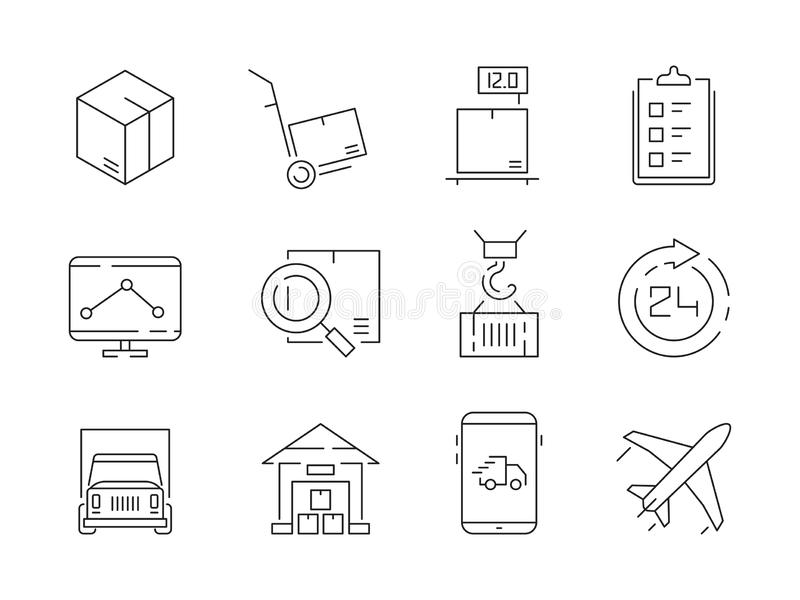 Logistic icon set. Warehouse delivery boxes containers and transport crane ship vector thin line symbols royalty free illustration