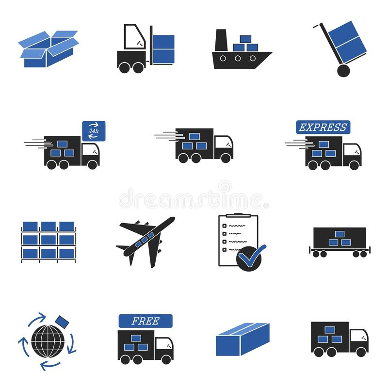 Download Logistic icons stock illustration. Image of forklift - 25590129