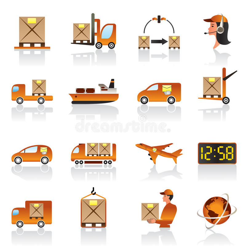 Download Logistic icons set stock vector. Image of freight, airplane - 24106618
