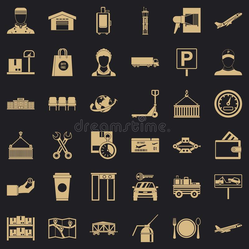 Logistic icons set, simple style. Logistic icons set. Simple style of 36 logistic vector icons for web for any design royalty free illustration