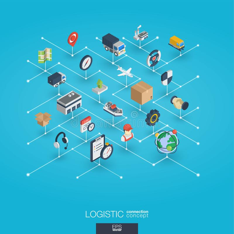 Free Logistic Integrated 3d Web Icons. Digital Network Isometric Concept. Royalty Free Stock Photo - 103763805