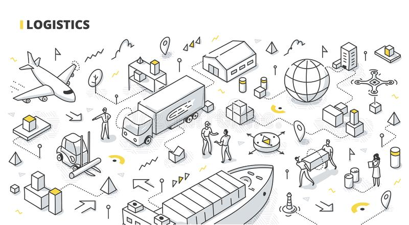 Logistics Isometric Doodle stock illustration