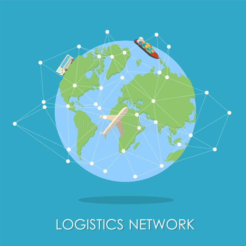 Logistic network isometric isllustration.Mini planet concept. vector illustration