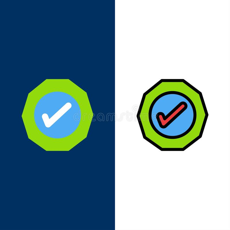 Logistic, Ok, Success, Tick  Icons. Flat and Line Filled Icon Set Vector Blue Background royalty free illustration