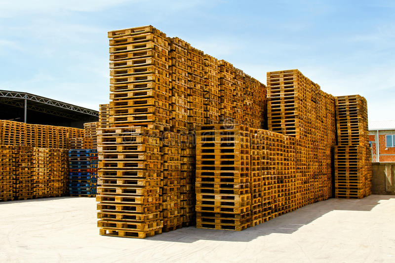 Logistic pallets. Wooden pallets for cargo and logistic at warehouse royalty free stock image