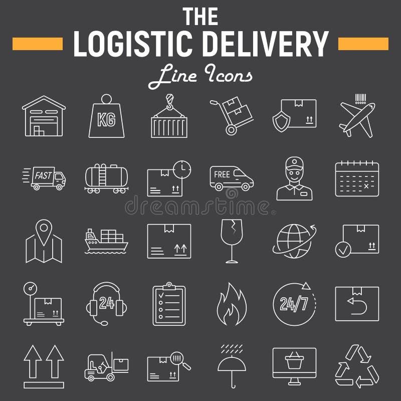 Logistic thin line icon set, Delivery symbols vector illustration