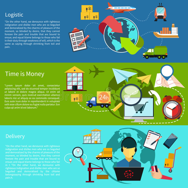 Logistic, time is money and delivery royalty free illustration