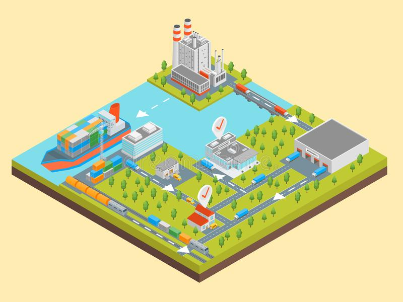 Logistic Transportation Concept 3d Isometric View. Vector royalty free illustration