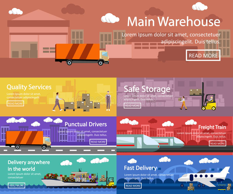 Logistic and transportation concept flat banners. Vector set of truck, ship, train, air transport delivery, shipping royalty free illustration