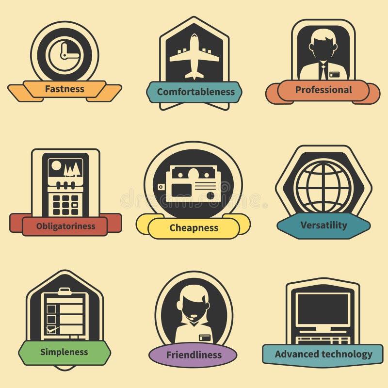 Logistic transportation fastness delivery emblems stock illustration