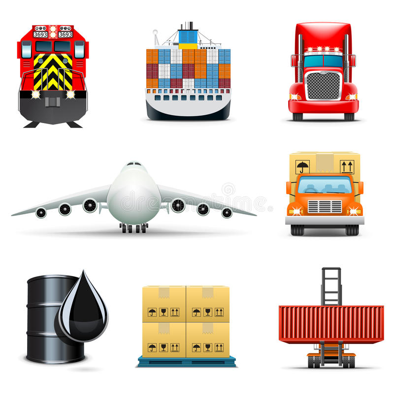 Download Logistic And Transportation Icons | Bella Series Stock Vector - Illustration of pallet, freight: 18294905