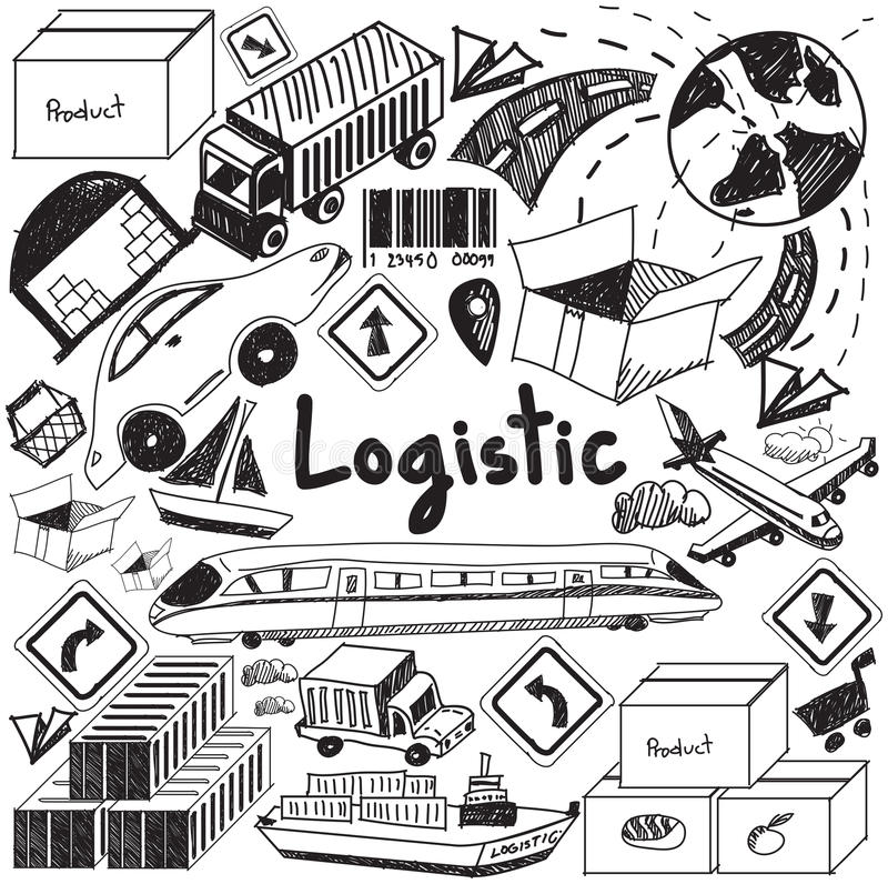 Logistic, transportation, and inventory management handwriting d. Oodle icon cargo object sign and symbol in white background paper used for business royalty free illustration