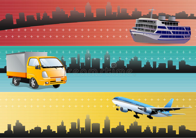 Logistic Transportation Web Banners Royalty Free Stock Photo