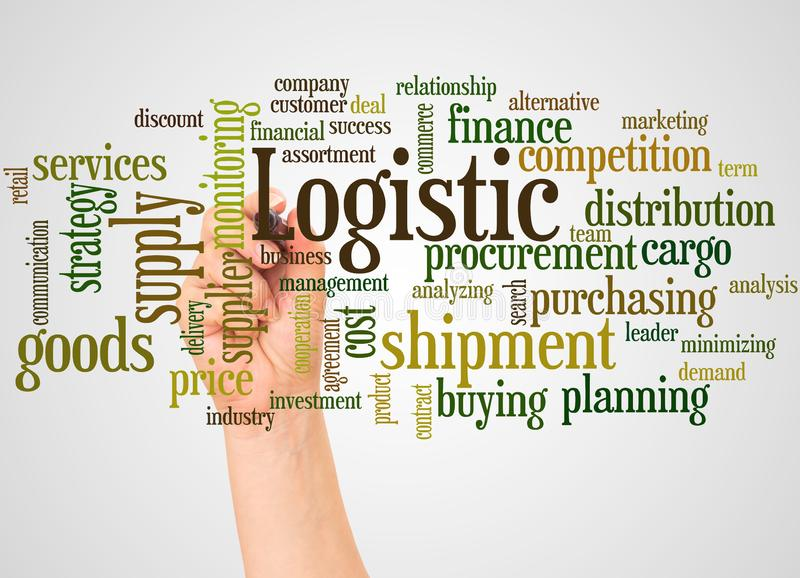 Logistic word cloud and hand with marker concept stock photo