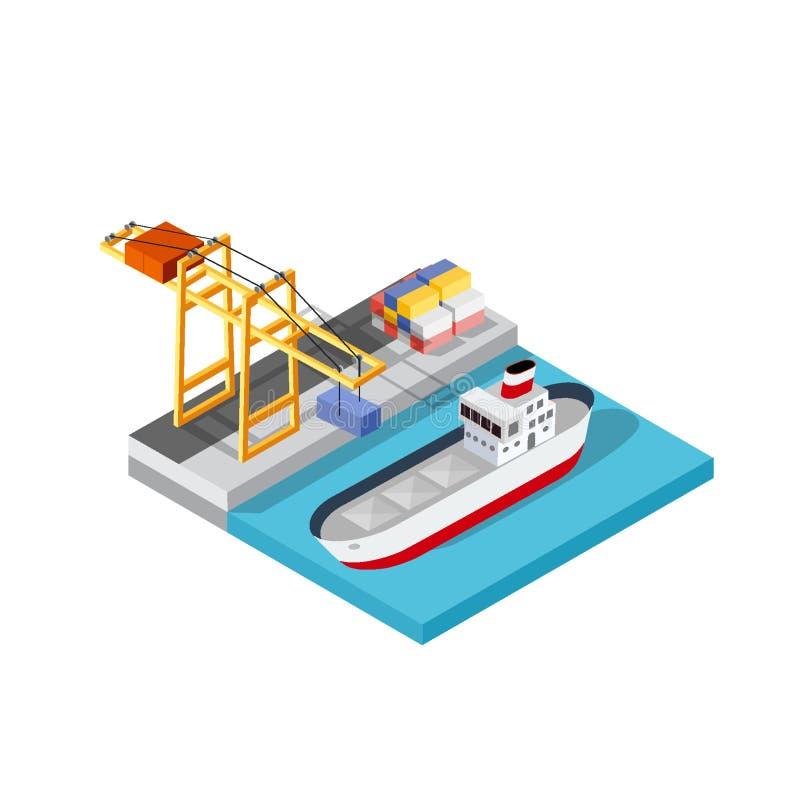 Logistica dei trasporti della nave da carico del porto illustrazione di stock