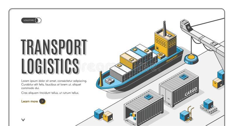 Logistica dei trasporti, società di consegna del porto della nave illustrazione di stock