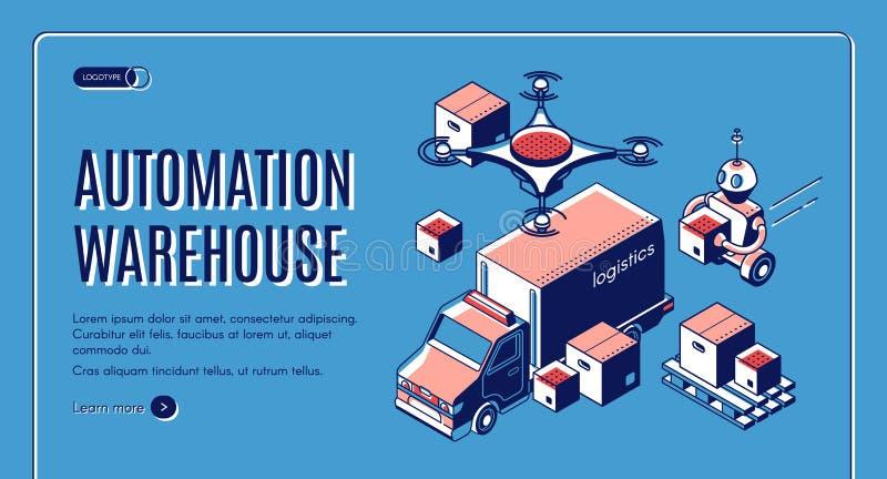 Logistica del magazzino automatizzato, insegna isometrica illustrazione di stock