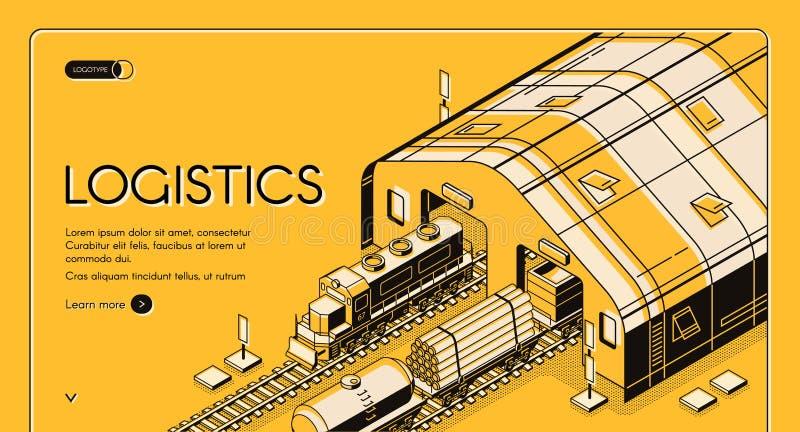 Logistica del magazzino, trasporto globale di legno ferroviario royalty illustrazione gratis