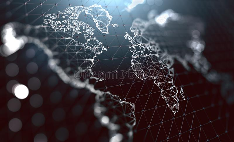 Logistica e spedizioni internazionali Aro di comunicazione della società illustrazione vettoriale
