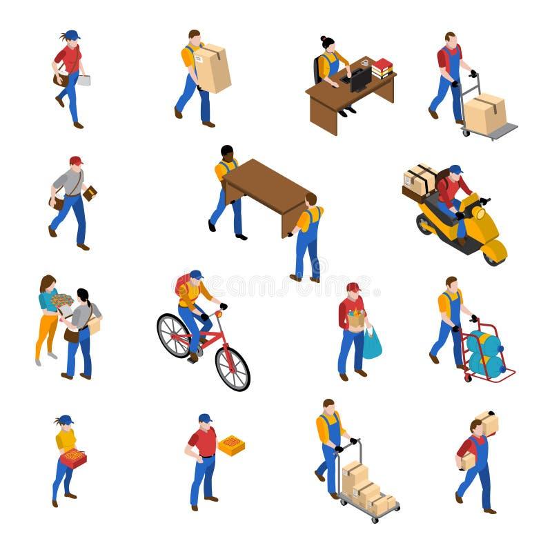 Logistica ed icone di consegna messe illustrazione vettoriale