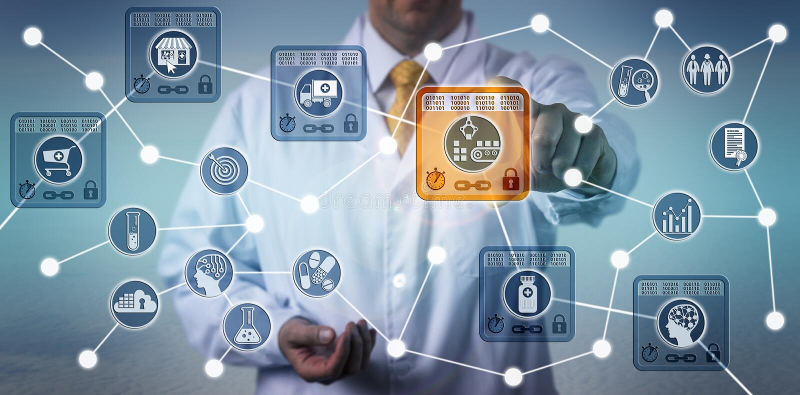 Logisticien de Pharma employant IoT basé sur Blockchain photographie stock