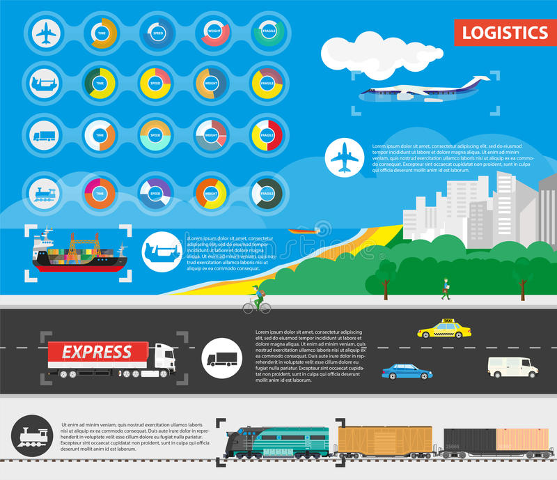 Logistics Best Delivery Means of Transportation. Rounds diagrams with pros and icons of delivery by plane in air, ship in sea, truck on highway and train on stock illustration