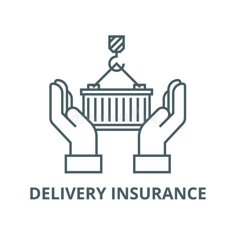 Logistics care,delivery insurance vector line icon, linear concept, outline sign, symbol. Logistics care,delivery insurance vector line icon, outline concept stock illustration