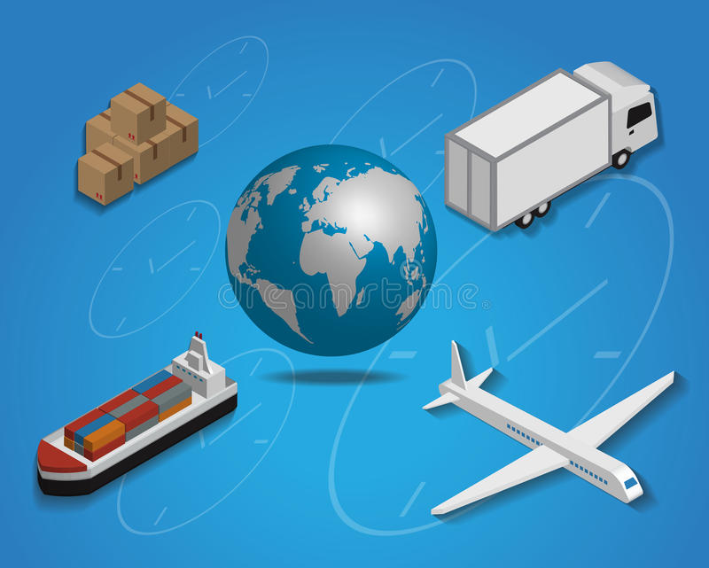Logistics cargo delivery flat 3d isometric vector illustration