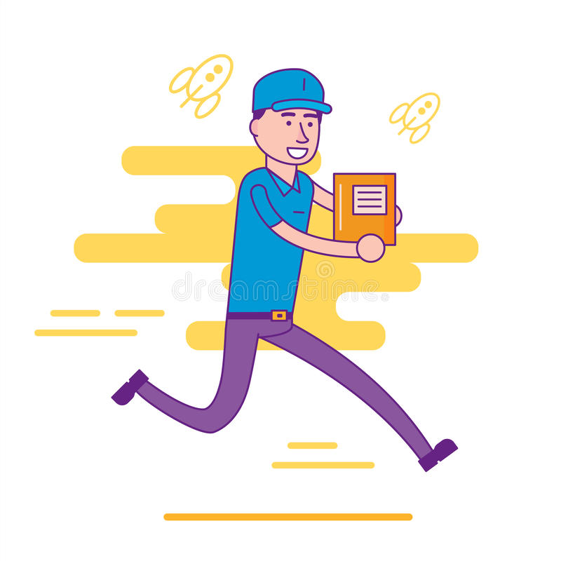 Logistics company courier or delivery man character running in a. Hurry with parcel. Postman or post office worker delivering mailboxes. Vector flat cartoon stock illustration